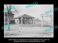 OLD LARGE HISTORIC PHOTO OF KENT TOWN SA, THE KEYSTONE SERVICE STATION c1930
