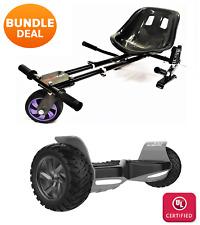 """Black 8.5"""" Off Road All Terrain Hoverboard & HK7S HoverKart Bundle Deal"""