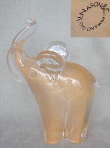 Vintage large Sommerso Aventurine Art Glass Elephant V. Nason & C. Murano, Italy