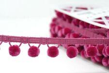 Pom Pom Trim By the Metre, Luxury Velvet Feel, 20 Colours, 15mm Balls