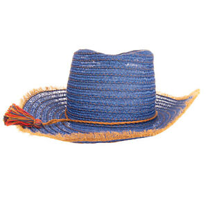 RRP €165 INVERNI Woven Trilby Hat Size 57 M Hemp Blend Frayed Brim Made in Italy