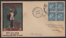 SCOTT 719 LOS ANGELES OLYMPICS BLOCK FIRST DAY COVER FDC 1932 PLANTY 81