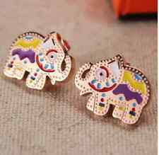Fashion Jewelry 18K Rose Gold Titanium Earring of Colorful Elephant Valentines