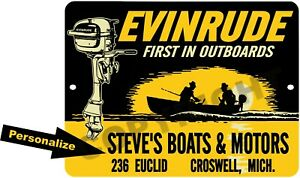 Custom Personalized Reproduction Evinrude Outboard Motor 9x12 Aluminum Sign