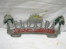 Vintage Florida License Plate Topper Tag Land of Sunshine Palm Trees Sun