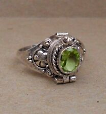 Handmade Sterling Silver Peridot Poison or Cremation Ring Size 5-7-8-9