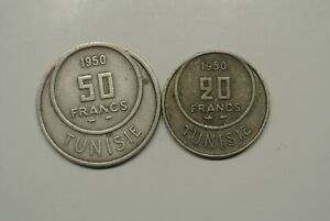 TUNISIE  50 FRANCS + 20 FRANCS 1950