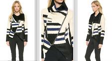 Yigal Azrouel Elongated Stripe Asymmetrical Zipped Colorblock Moto Jacket $1750+