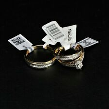 New w/Tags Set of 3 14k Gold Rings With IGI Certified Diamond Accents -BBR2303