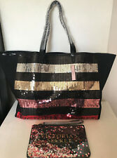 NEW! VICTORIA'S SECRET VS BLACK SHOPPER TRAVEL GETAWAY TOTE BAG W/ WRISTLET SALE