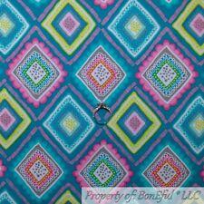 BonEful FABRIC FQ Cotton Quilt Aqua Blue Pink Green Rainbow Diamond Damask Girl