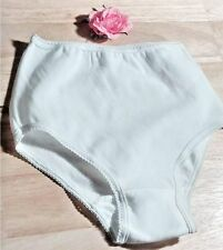 STRETCH NYLON CUTE VINTAGE GIRLS PANTIES KNICKERS BRIEFS PURE WHITE 11/14 NOS