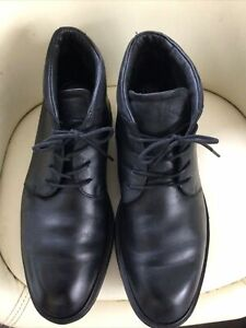 Lovely Pair Of Mens Soft Black Leather Ecco Vitrus Lace Up Boots Size 7.5 (41)