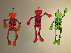 Kaws Skeleton Ornament Set of 3 - Neon Orange Pink Green Original Fake