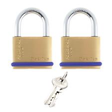 2 Padlocks Same Key 40mm BRASS Heavy Quality Thick  Keyed Alike Garage Shed Gate