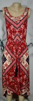 ARTESIA NEW NWT Red Black Beige Handkerchief Print Sleeveless Dress Small Hi-Lo