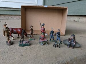 Lot of 11 Cast Iron Vintage Toy Soldiers Tank, Horse, Dog, Cowboy Barclay Manoil
