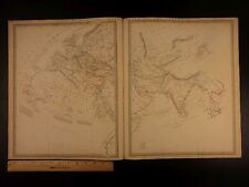 1844 BEAUTIFUL Huge Color MAP Eastern Hemisphere Europe Asia ATLAS
