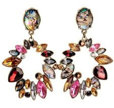 GARNET RED PINK FAUX ABALONE CITRINE TOPAZ Designer Crystal Rhinestone Earrings