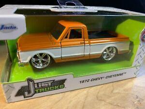 2021 Jada JUST TRUCKS 1972 CHEVY CHEYENNE PICKUP 1:32 Diecast Orange / White NIB