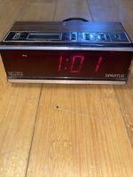 Vintage SPARTUS Woodgrain His & Hers Red Dual Digital Alarm Clock Retro 1148