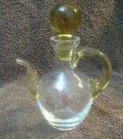 vintage salad oil, vinegar cruet, dispenser with applied yellow handle & spout