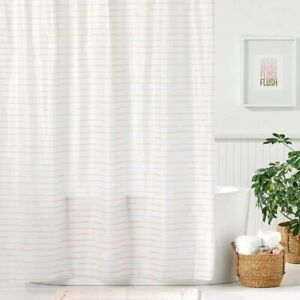 Nice Light Pink White Striped Classic Fabric Shower Curtain