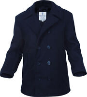 Navy Blue US Navy Type Quilted Thick Heavyweight Wool Peacoat