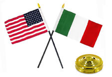"Italy Italian w/ USA American Flag 4""x6"" Desk Set Table Stick Gold Base"