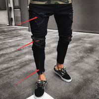 Fashion Men's Ripped Skinny Jeans Destroyed Frayed Slim Fit Denim Pant Zipper VV