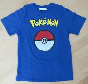 T-Shirt in blau von ZARA mit Pokemon Pokeball aus Wendepailetten Gr. 134