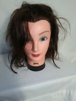 "Preowned BURMAX ""DEBRA"" Cosmetology Human Hair Mannequin Head Hair Red Brown"