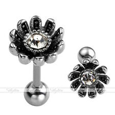 1x 16G Stainless Steel Flower Crystal Ear Cartilage Tragus Stud Earring Piercing