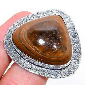 Obsidian Eye Gemstone Handmade 925 Sterling Silver Jewelry Ring Size 8.5 O739