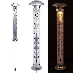 XXL SOLAR GARTEN-THERMOMETER 112 cm LED Garten Außenthermometer beleuchtet
