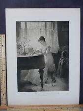 Rare Antique Original VTG 1890 Percy Moran The Old Song Engraving Art Print