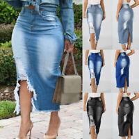Plus Size Womens High Waist Ripped Denim Skirt Ladies Bodycon Pencil Midi Dress