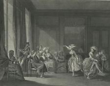ANTIQUE VERSAILLES COSTUME DANCING LESSON DANCE VIOLIN WOMAN LEG GARTER PRINT