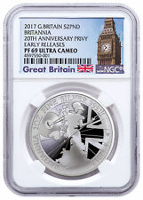 2017 Britain 1 oz Proof Silver Britannia Trident Privy NGC PF69 UC ER SKU49164