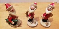 Vintage Japan Santa Claus Bobble Head Wood Figurines 3