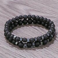 2pcs Hematite Natural Stone Bracelet Men Matte Lava Volcanic Beads Jewelry Gifts