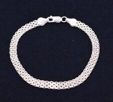 "Italian 7.25"" Diamond Cut Bizmark Bismark Bracelet Real Sterling Silver 925"