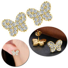 Damen Schmetterling Ohrringe Zirkonia Strass Ohrstecker Geschenk Mode