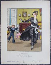Pierre BRISSAUD Pochoir Art Déco ORIGINAL N°3 pl. 23  3/1914 GAZETTE DU BON TON