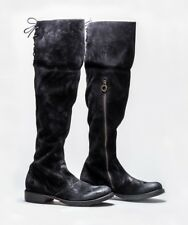 FIORENTINI + BAKER SHOES 705 OTK OVER THE KNEE BLACK SUEDE BOOTS $590 38.5 NEW