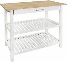 """Casual Home Kitchen Island with American Hardwood Top, Natural/White, 40"""" W New"""