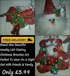 Brand New Christmas Novelty LED Flashing Brooch In Various Characters For Sale