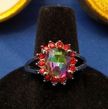 RING Size 8 - Mystic Rainbow Color Stone & Silver Band with Gift Box