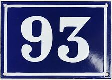 Large old blue French house number 93 door gate plate plaque enamel metal sign