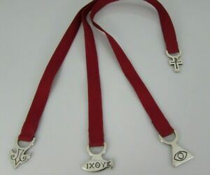 JAMES AVERY CROSS & TRINITY RED RIBBON Sterling Silver 925 BOOKMARK BM-5